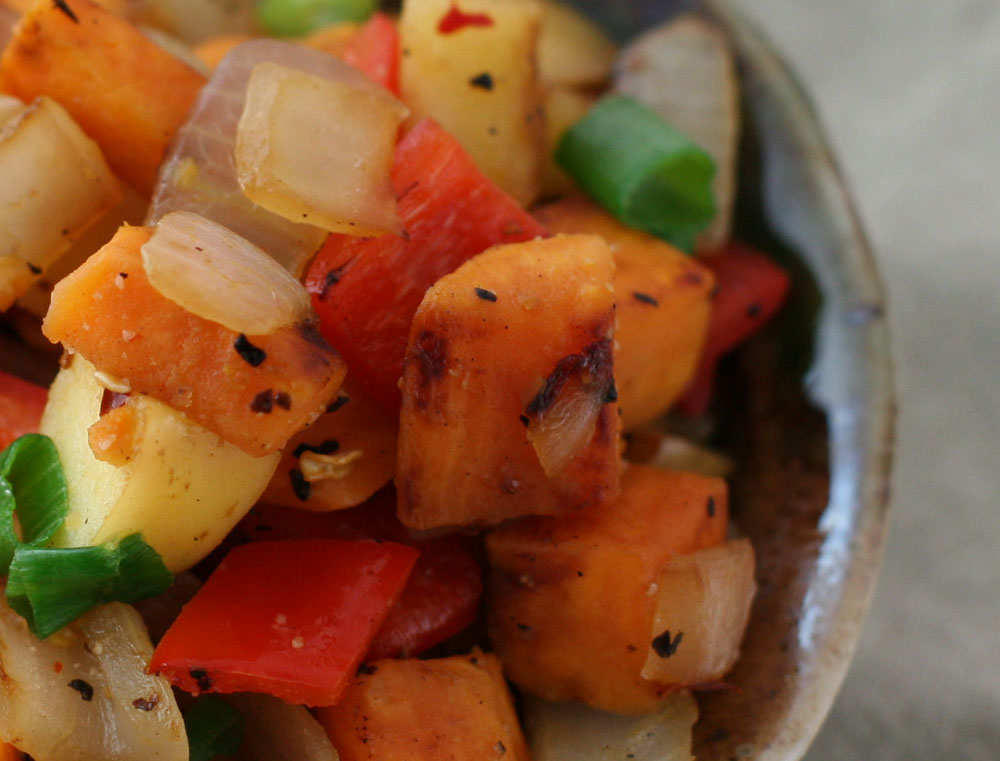 sweet potato hash close-up