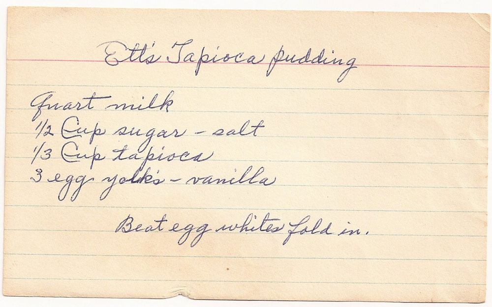 Old Fashioned Tapioca Recipe