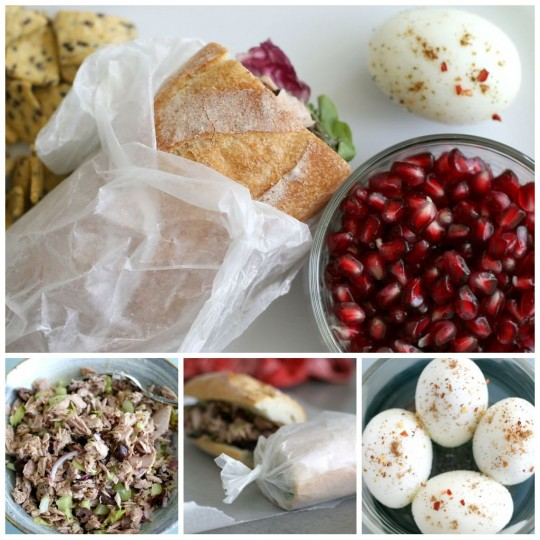 Picnic: Tuna Salad Sandwich, Boiled Eggs & Pomegranate Seeds