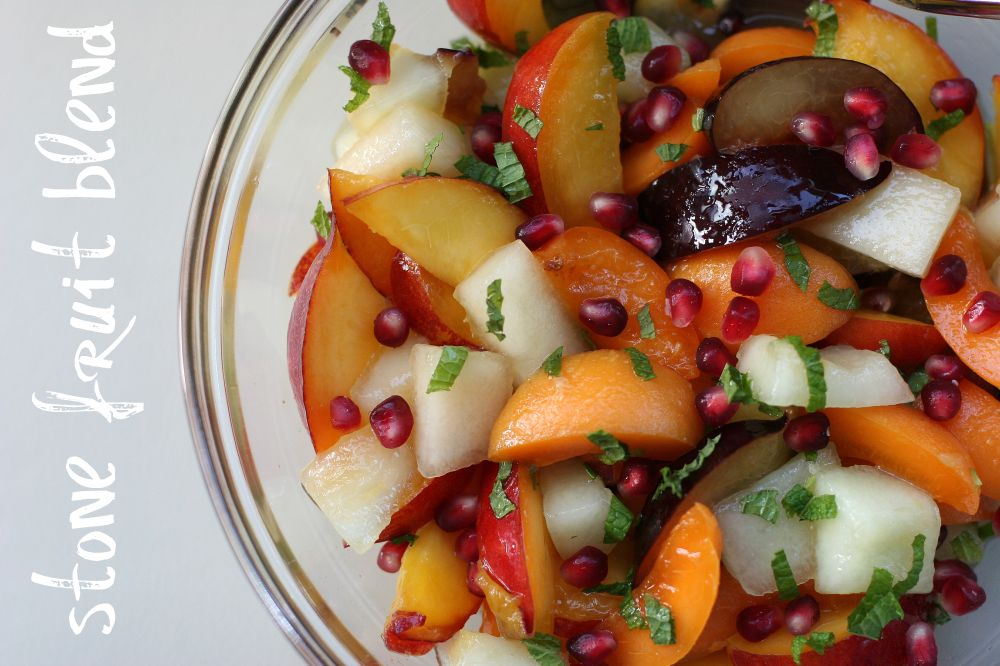 Stone Fruit Salad with Ginger Syrup & Mint