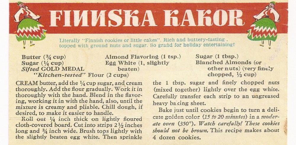 Recipe Card - Finnska Kakor, little Finnish cookies or little cakes