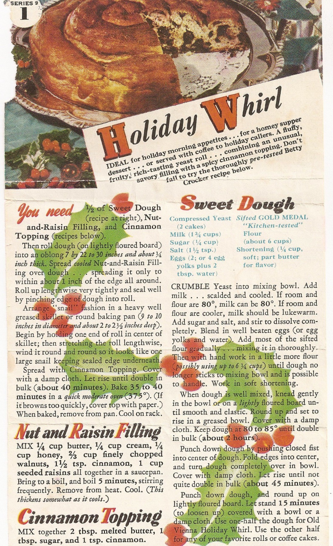 Vintage Recipe Card for Holiday Whirl Cinnamon Raisin Yeast Bread