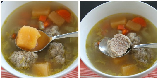 Rutabaga Soup with Tender Easy to Make Meatballs